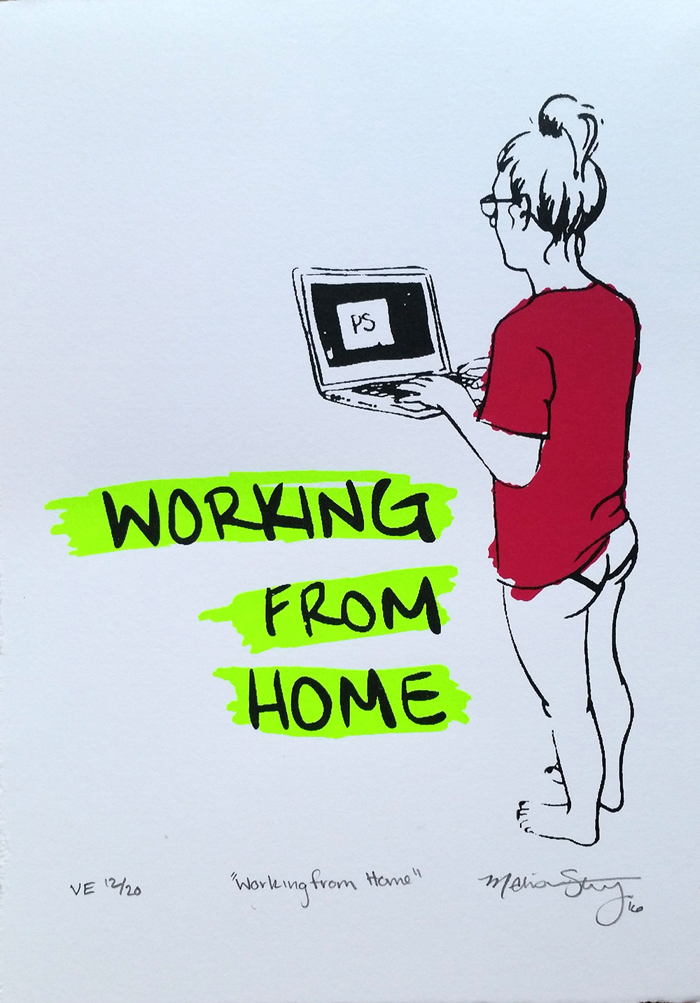 """Working From Home"" - limited varied edition print by Madison Sternig"