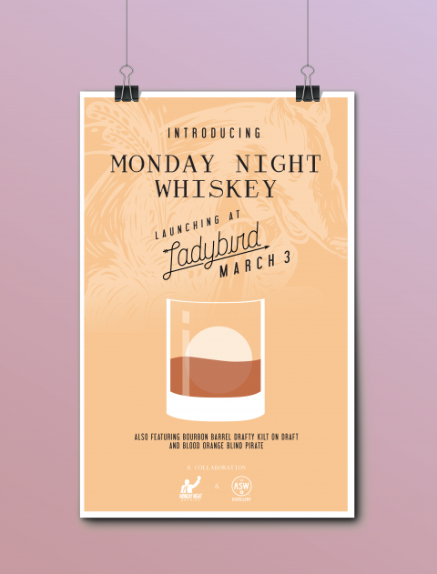 Promotional poster for the launch of Monday Night Whiskey at Ladybird in Atlanta