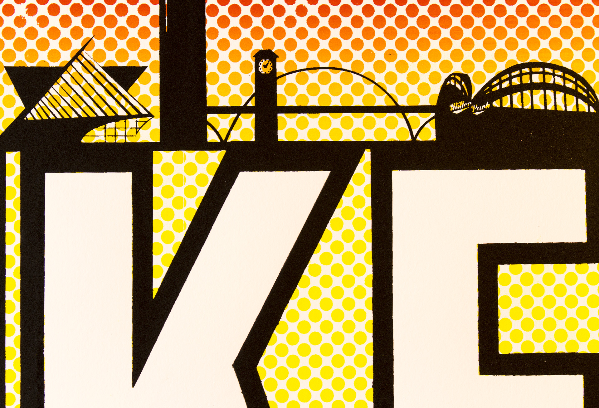 "Detail shot of ""MKE"", limited edition silkscreen print by Madison Sternig"