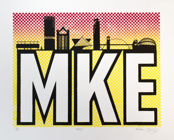"""MKE"" silkscreen print by Madison Sternig"