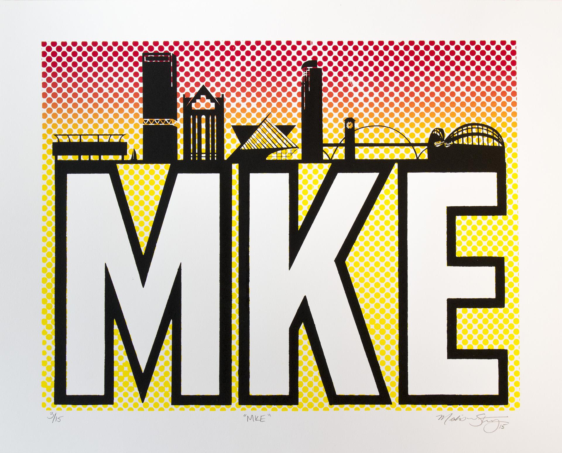 """MKE"" silkscreen print by Madison Sternig"